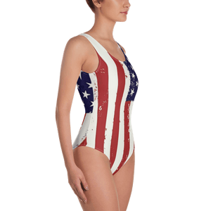American Patriots Apparel Ladies Swimsuit Distressed Vertical American Flag One-Piece Swimsuit