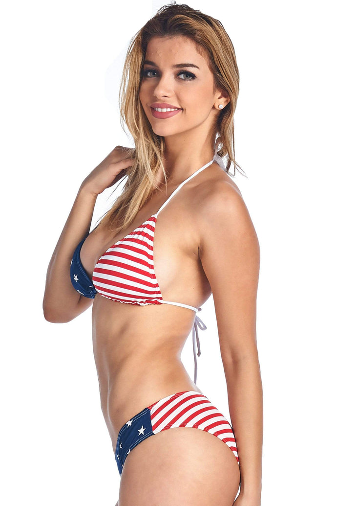 American Patriots Apparel Ladies Swimsuit USA Flag / Small Women's Juniors USA Flag Basic Bikini BOTTOM ONLY Beach Swimwear
