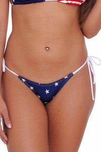 American Patriots Apparel Ladies Swimsuit USA Flag / TOP(L) BOTTOM(XL) Women's Juniors USA Flag 2-Piece Bikini Micro Thong Swimwear