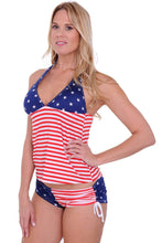 Load image into Gallery viewer, American Patriots Apparel Ladies Swimsuit USA Flag / TOP(S) BOTTOM(XL) Women's USA Flag Tankini & String Shorts 2-Piece Swimwear