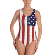 Load image into Gallery viewer, American Patriots Apparel Ladies Swimsuit XS Distressed Vertical American Flag One-Piece Swimsuit