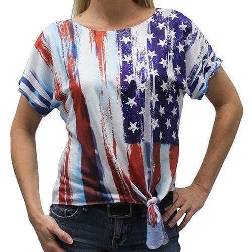 The Flag Shirt Ladies T-Shirt Ladies Tide Side Vertical Flag T-Shirt