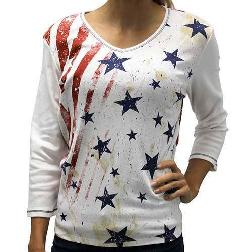 The Flag Shirt Ladies T-Shirt Red/White/Blue / S Ladies Vintage Stars and Stripes Top