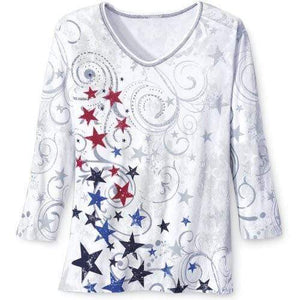 The Flag Shirt Ladies T-Shirt Red/White/Blue / S / V-Neck 3/4 Sleeve Ladies Patriotic Stars Shirt