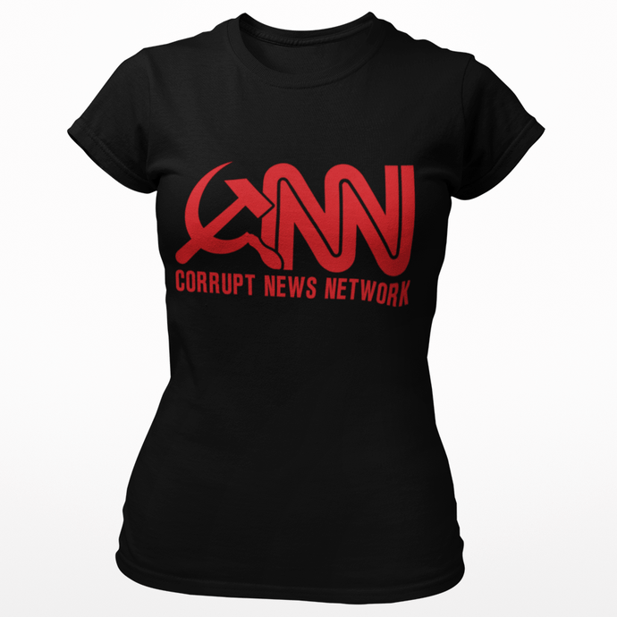 Right Wing Gear Ladies T-Shirt S / Black Corrupt News Network Women's Cotton Tee Shirt (3 Variants)