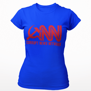 Right Wing Gear Ladies T-Shirt S / Royal Blue Corrupt News Network Women's Cotton Tee Shirt (3 Variants)