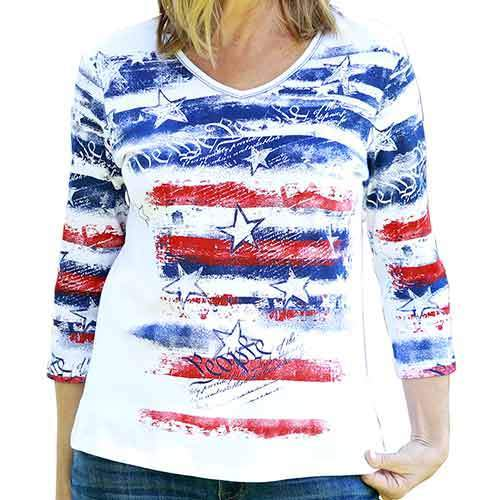 The Flag Shirt Ladies T-Shirt Womens Freedom Ring V-Neck Top