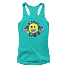 Load image into Gallery viewer, Print Brains Ladies Tank Top Next Level Women's Racerback Tank / Aqua / XS Super Happy Fun America Racerback Tank (12 Variants)