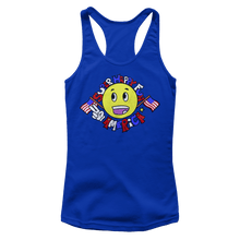 Load image into Gallery viewer, Print Brains Ladies Tank Top Next Level Women's Racerback Tank / Royal Blue / XS Super Happy Fun America Racerback Tank (12 Variants)