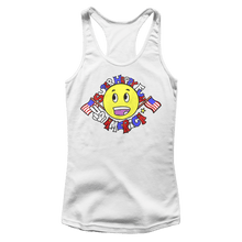 Load image into Gallery viewer, Print Brains Ladies Tank Top Next Level Women's Racerback Tank / White / XS Super Happy Fun America Racerback Tank (12 Variants)