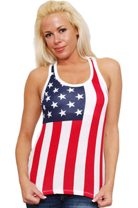 American Patriots Apparel Ladies Tank Top Red/White/Blue / Medium Women's USA Flag Tank Top Juniors Racer Back