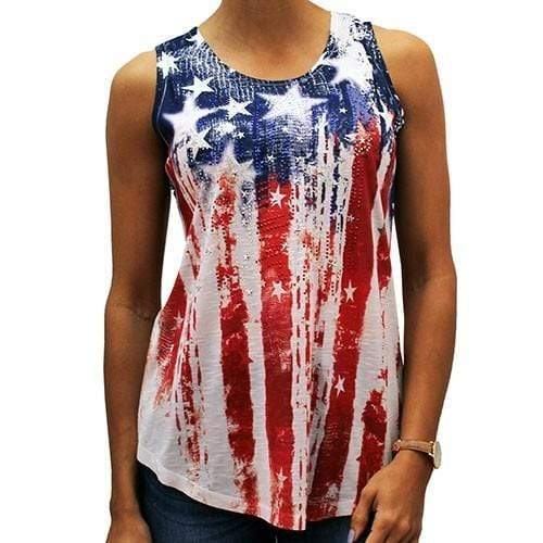 The Flag Shirt Ladies Tank Top Red/White/Blue / S Ladies Vertical American Flag Tank