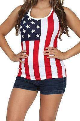 American Patriots Apparel Ladies Tank Top Red, White & Blue / Small USA Flag Tank Top Ladies
