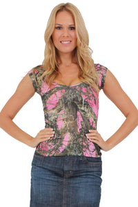 American Patriots Apparel Large / PINK Women's Camo V-Neck Shirt True Timber Camouflage Blouse Made in the USA