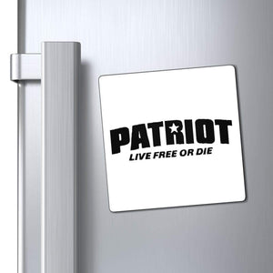 "Printify Magnet 4x4"" / White Patriot Live Free or Die Magnet (3 Sizes)"