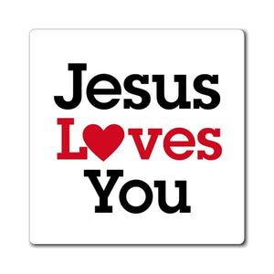 Printify Magnet Jesus Loves You Magnet (3 Sizes)