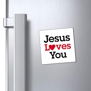 "Printify Magnet White / 3x3"" Jesus Loves You Magnet (3 Sizes)"