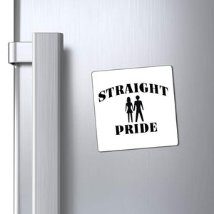 "Printify Magnet White / 3x3"" Straight Pride Magnet (3 Sizes)"