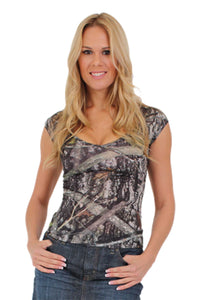 American Patriots Apparel Medium / GREEN Women's Camo V-Neck Shirt True Timber Camouflage Blouse Made in the USA