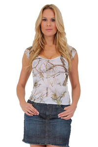 American Patriots Apparel Medium / WHITE Women's Camo V-Neck Shirt True Timber Camouflage Blouse Made in the USA