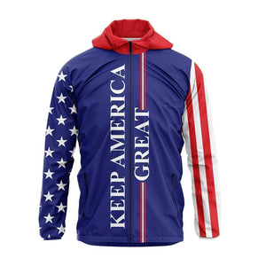 Greater Half Men's Coat Small / Red/White/Blue Keep America Great USA Rain Jacket