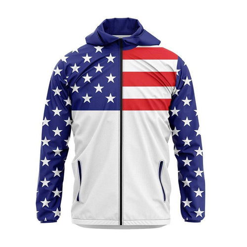 Greater Half Men's Coat Small / Red/White/Blue USA Flag Rain Jacket