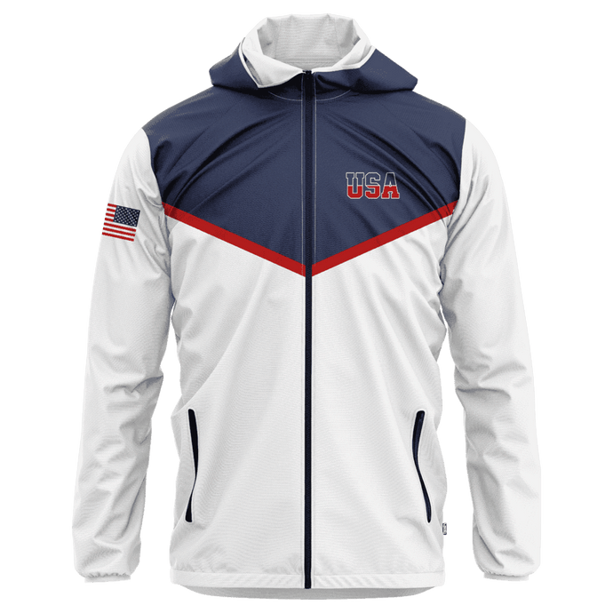 Greater Half Men's Coat Small / Red/White/Blue USA Rain Jacket