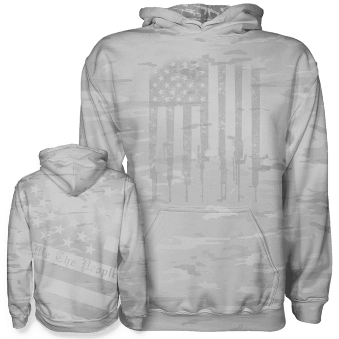 Print Brains Men's Hoodie Arctic Camo We The People Hoodie / White / S Arctic Camo We The People Hoodie