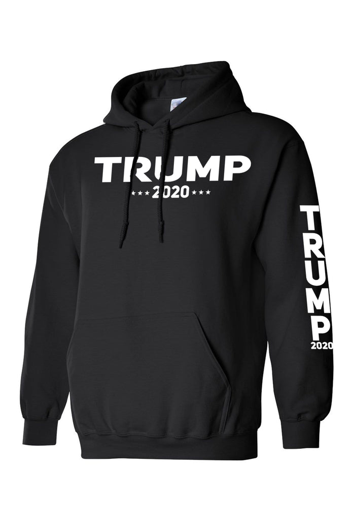 American Patriots Apparel Men's Hoodie Black / M / FRONT & LEFT SLEEVE Trump 2020 (Front and Left Sleeve) Pullover Hoodie (2 Variants)