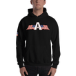 Load image into Gallery viewer, American Patriots Apparel Men's Hoodie Black / S American Patriots Apparel Logo Hoodie With Reverse Side Flag on Right Sleeve (8 Variants)