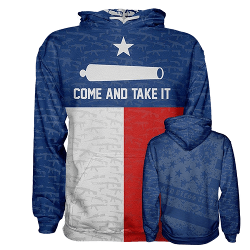 Print Brains Men's Hoodie Come and Take It Hoodie / XS / Red/White/Blue Come and Take It Hoodie
