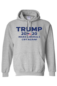 American Patriots Apparel Men's Hoodie Grey / MEDIUM / FRONT Trump 2020 Make Liberals Cry Again Pullover Hoodie (4 Variants)