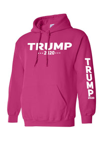 American Patriots Apparel Men's Hoodie HotPink / 3XL / FRONT & LEFT SLEEVE Trump 2020 (Front and Left Sleeve) Pullover Hoodie (2 Variants)