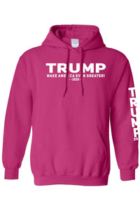 American Patriots Apparel Men's Hoodie HotPink / MEDIUM / FRONT Trump Make America Even Greater 2020 Pullover Hoodie With Trump On Left Sleeve (2 Variants)