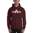 Load image into Gallery viewer, American Patriots Apparel Men's Hoodie Maroon / S American Patriots Apparel Logo Hoodie With Reverse Side Flag on Right Sleeve (8 Variants)