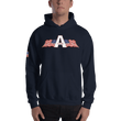 Load image into Gallery viewer, American Patriots Apparel Men's Hoodie Navy / S American Patriots Apparel Logo Hoodie With Reverse Side Flag on Right Sleeve (8 Variants)