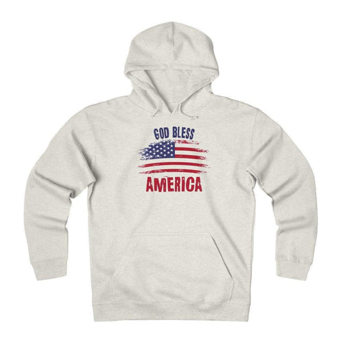 Printify Men's Hoodie Oatmeal Heather / L God Bless America Heavyweight Fleece Hoodie (2 Variants)