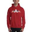 Load image into Gallery viewer, American Patriots Apparel Men's Hoodie Red / S American Patriots Apparel Logo Hoodie With Reverse Side Flag on Right Sleeve (8 Variants)