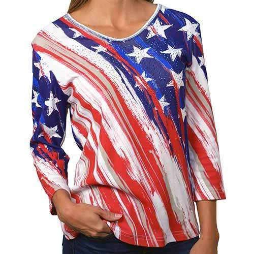 The Flag Shirt Men's Hoodie Red/White/Blue / S / Pullover Women's Stars and Stripes 3/4 Sleeve T-Shirt