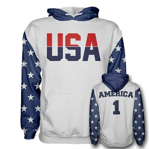 Greater Half Men's Hoodie Red/White/Blue / XS Retro America #1 Hoodie