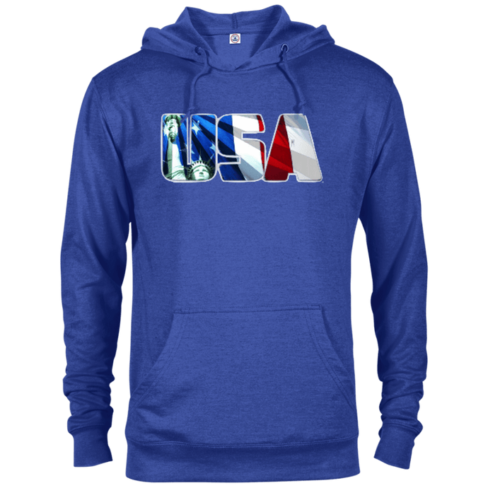 CustomCat Men's Hoodie Royal Heather / X-Small USA Statue of Liberty Delta French Terry Hoodie (11 Variants)