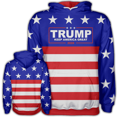 Print Brains Men's Hoodie Trump Keep America Great Hoodie / Blue / S Trump Keep America Great Hoodie