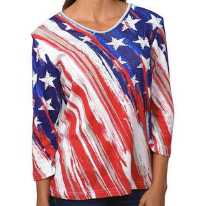 The Flag Shirt Men's Hoodie Women's Stars and Stripes 3/4 Sleeve T-Shirt
