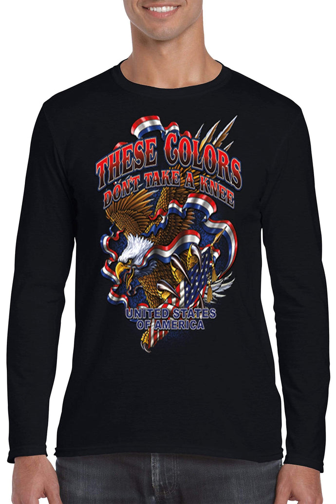 American Patriots Apparel Men's Long Sleeve Shirt Black / 3XL / FRONT These Colors Don't Take A Knee United States of America Long Sleeve Shirt (6 Variants)