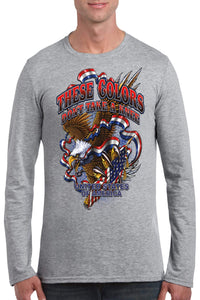 American Patriots Apparel Men's Long Sleeve Shirt Grey / 3XL / FRONT These Colors Don't Take A Knee United States of America Long Sleeve Shirt (6 Variants)