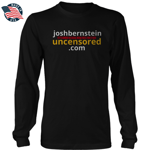 Print Brains Men's Long Sleeve T-Shirt Black / S / Port & Co US Made Cotton Long Sleeve Crew Josh Bernstein Uncensored - If It's Banned You'll Find It Here Long-Sleeve T-Shirt (4 Variants)