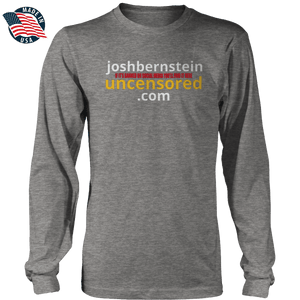 Print Brains Men's Long Sleeve T-Shirt Heather Gray / S / Port & Co US Made Cotton Long Sleeve Crew Josh Bernstein Uncensored - If It's Banned You'll Find It Here Long-Sleeve T-Shirt (4 Variants)