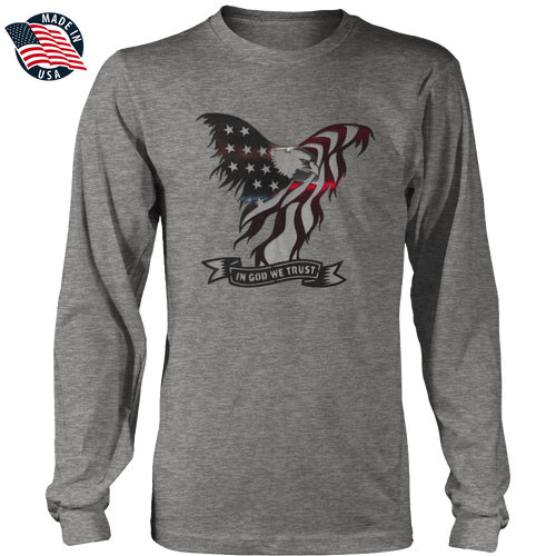 Print Brains Men's Long Sleeve T-Shirt In God We Trust Eagle Long-Sleeve T-Shirt (8 Variants)