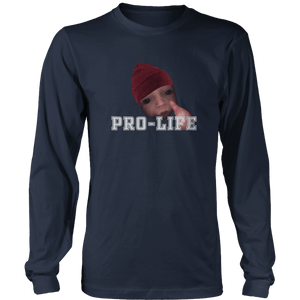 Print Brains Men's Long Sleeve T-Shirt Navy / S / Port & Co US Made Cotton Long Sleeve Crew Pro-Life Baby Long-Sleeve T-Shirt (8 Variants)
