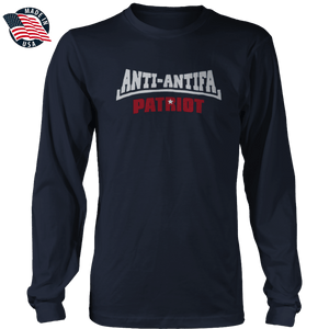 Print Brains Men's Long Sleeve T-Shirt Navy / S / Port & Co US Made Cotton Long Sleeve Crew White Anti-Antifa Red Patriot White Star Long-Sleeve Shirt (8 Variants)